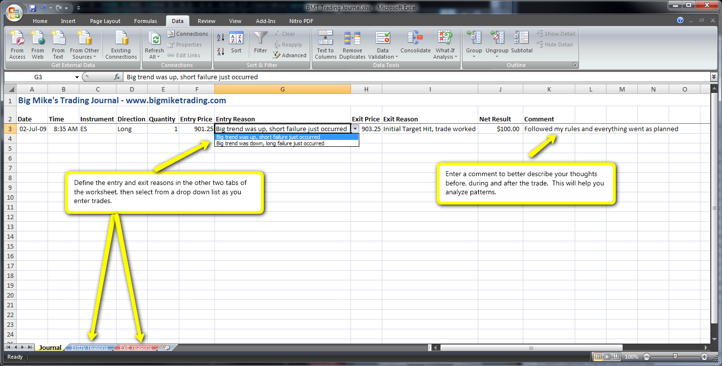 Trading Journal example (Excel spreadsheet) - Psychology and