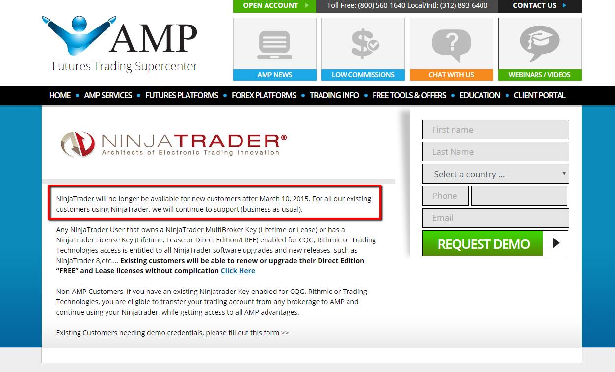 Amp futures no longer supporting ninjatrader? - Reviews of