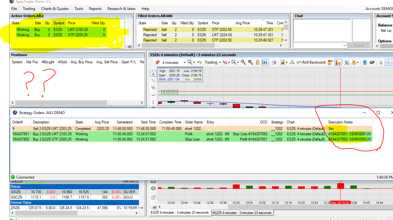 Buy orders going to simulation (preference setting is demo